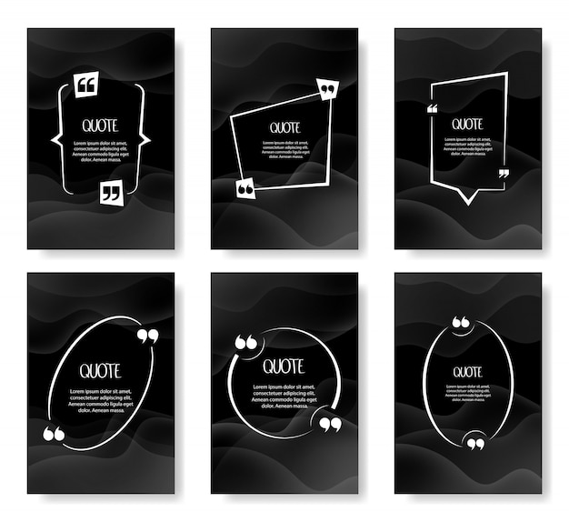 Quote frames blank template set. blank template for your text, speech quotes in an empty bubble. illustration