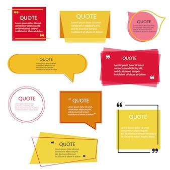 견적 프레임 빈 템플릿 흰색 배경에 설정합니다. 주목. 거품 댓글, 메시지 테두리, 상자, 배너. 따옴표가 있는 말풍선, 생각, 말하기, 이야기, 쉼표, 텍스트 상자. 벡터