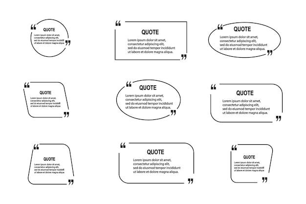 Цитата кадры пустые шаблоны на белом фоне. замечание. пузырьковый комментарий, границы сообщений, коробки, баннеры. речевой шар с кавычками, думать, говорить, говорить, запятые, текстовое поле. вектор
