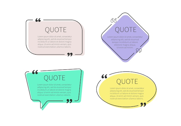 Quote frames set. quote box.
