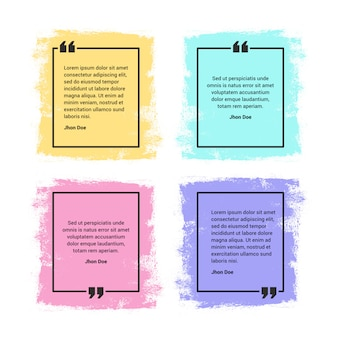 Quote frames set, vibrant, colourful and grunge style