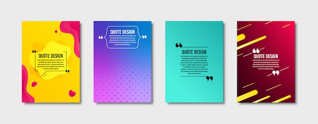 Quote frames templates set. citation text in brackets. textbox quote bubbles. cover set