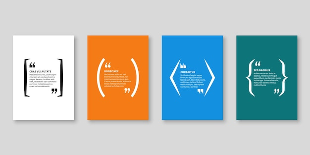 Quote frames. textbox, bubble shape with quotation for blog memo phrase and title message with copy space, citation banners vector isolated template