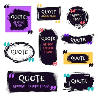 Quote grunge textured box. decorative textured speech bubbles, quotes sketch brush label, rough dialog boxes templates   icons set. quoting memo and motivation text boxes