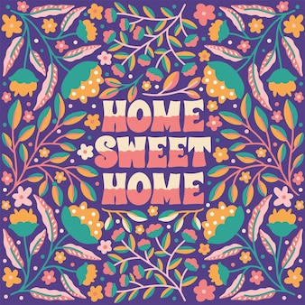Quote home sweet home framed in hand drawn