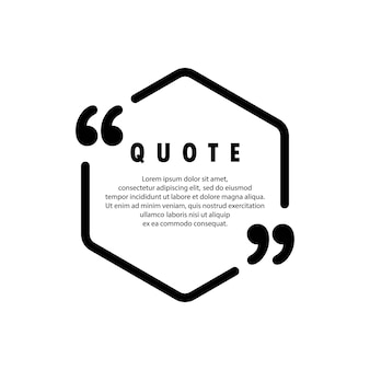 Quote icon. quotemark outline, speech bubble, inverted commas or talking mark collection. blank for your text. frame. vector eps 10. isolated on background.