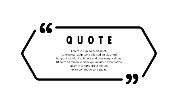 Quote icon. quotemark outline, speech bubble, inverted commas with empty space. blank for your text. frame. vector eps 10. isolated on background.