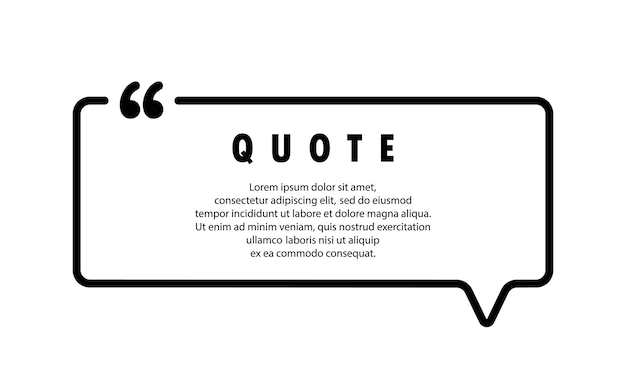 Quote icon. quotemark outline, speech marks, inverted commas, blank space. blank for your text. square shape. vector eps 10. isolated on background.