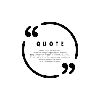 Quote icon. quotemark outline, speech marks, inverted commas. blank for your text. circle shape. vector eps 10. isolated on background.