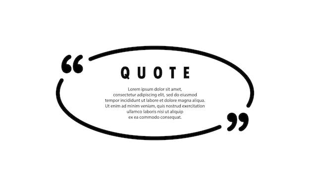 Значок цитаты. наброски quotemark, речевые знаки, кавычки или набор говорящих знаков. бланк для вашего текста. форма круга. вектор eps 10. изолированные на фоне.