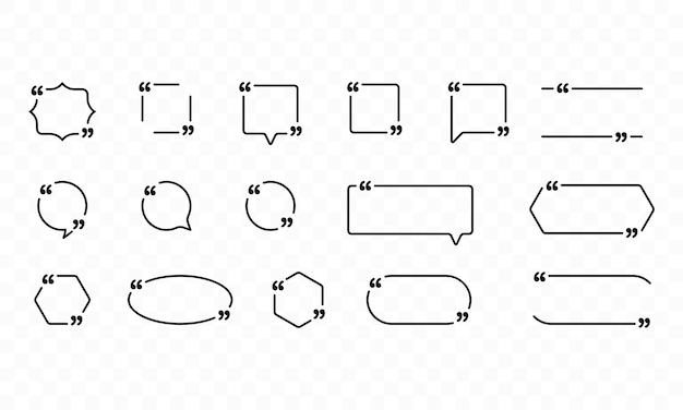 Набор иконок цитаты. наброски кавычек, речевые знаки, кавычки или набор говорящих знаков
