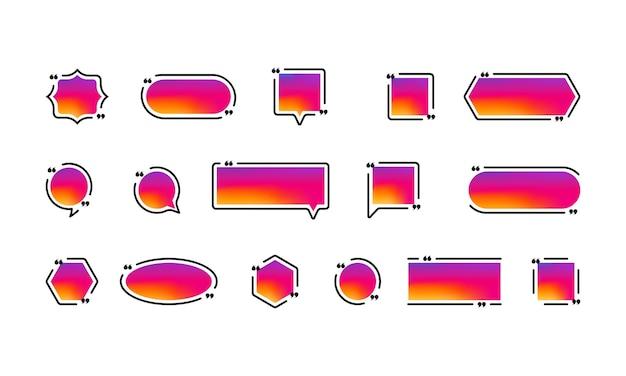 견적 아이콘 세트입니다. 소셜 미디어 개념입니다. 인용 부호 개요, 음성 표시, 역 쉼표 또는 말하는 표시 모음. 액자. 벡터 eps 10입니다. 배경에 고립