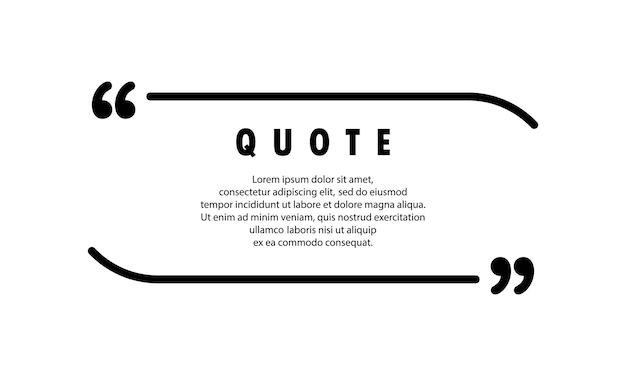 Значок цитаты. речевой пузырь, кавычки или набор говорящих знаков с пустым пространством. бланк для вашего текста. рамка. вектор eps 10. изолированные на фоне.