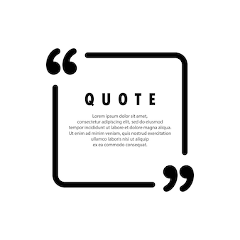 Quote icon. square shape. quotemark outline, speech marks, inverted commas or talking mark collection. blank for your text. frame. vector eps 10. isolated on background.
