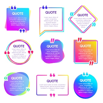 Quote info box. text remark frame, quotes reference label and texting dialogue words excerpt frames boxes  set