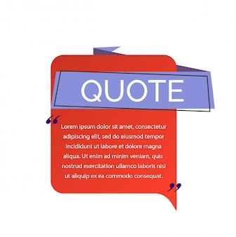 Quote lettering and text on speech bubble.