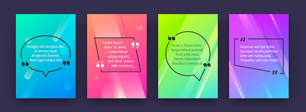Цитировать плакаты. баннеры с цитированием и речевыми пузырями в цветных рамках, шаблоны тегов мнения. векторный графический речевой круг и квадратные рамки с кавычками