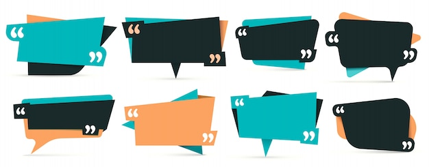 Quote in quotes. remark frames, frame for idea and quotation template  set