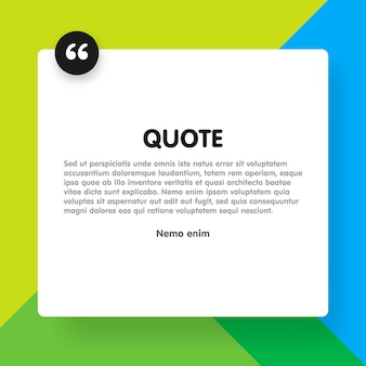 Quote rectangle with sample text informatio  template