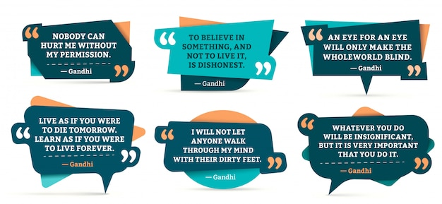 Quote remark frames. gandhi quotation, quotes frame and mention quotations remarks templates  set