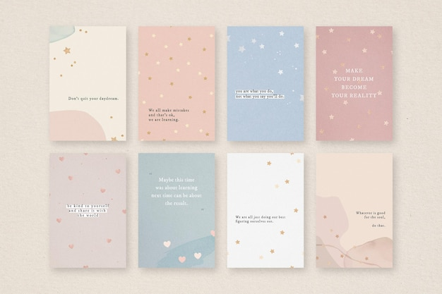 Quote social media template set