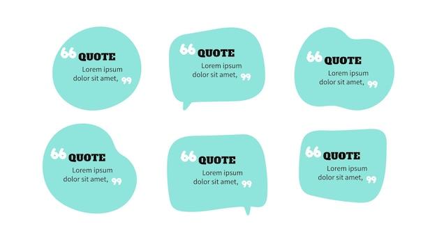 Цитата речи пузырь кадр цитата сообщение коллекция векторных искусства иллюстрации