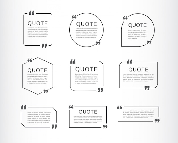 Quote template set. quote speech box.