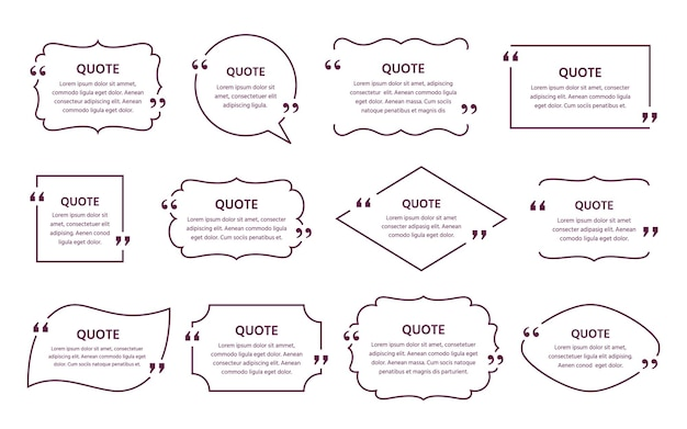 Quote text box. quotations frame. decorative vintage templates. speech bubbles. comments and messages in textboxes