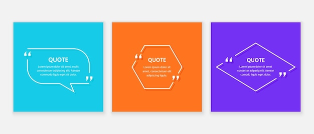 Quote text box. quotations frame template. white info comments and messages in textboxes