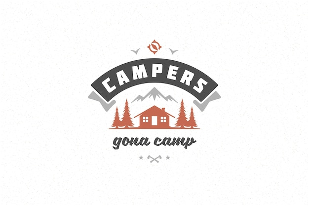 Quote typography with hand drawn camping cabin in forest symbol for greeting card or poster and other