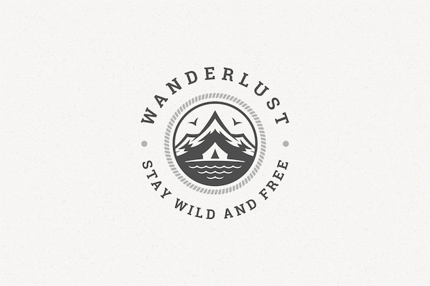 Quote typography with hand drawn mountains and tent symbol for greeting card or poster and other.