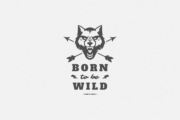 グリーティングカードやポスターなどの手描きのオオカミの頭のシンボルでタイポグラフィを引用します。
