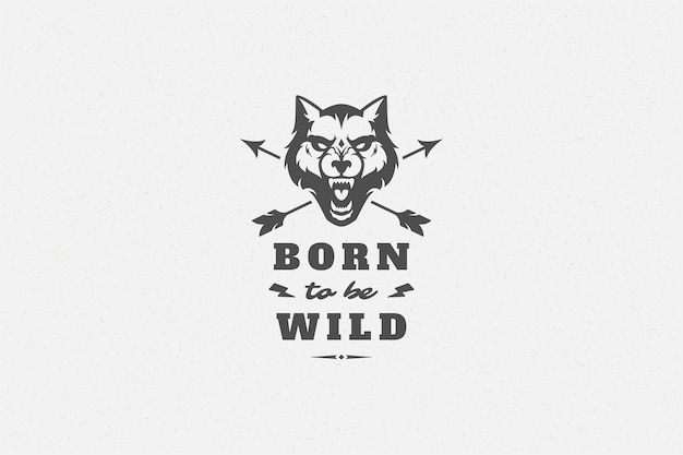 Quote typography with hand drawn wolf head symbol for greeting card or poster and other.