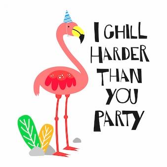 Quote with flamingo illustration