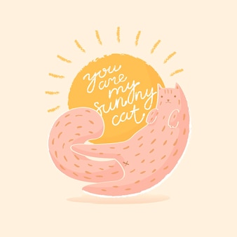 Quote you are my sunny cat card with cute animal and sun flat style vector illustration