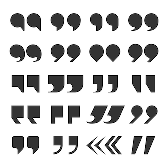 Quotes marks. quotation marking speech punctuation excerpt commas double comma. remark button set