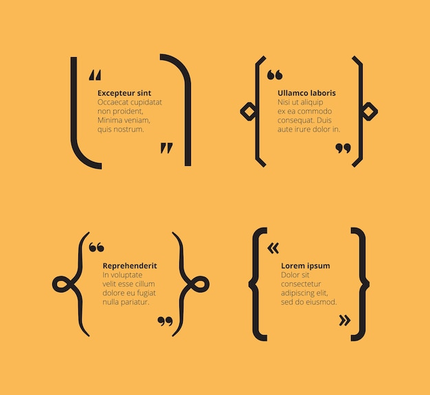 Котировки на желтом. абстрактный шаблон скобок с кавычками типографии и местом для текстовых графических фреймов