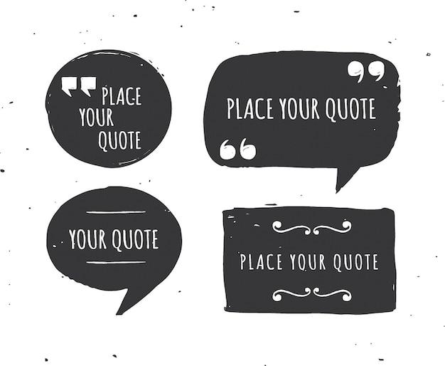 Шаблоны цитат - набор рисованной черно-белый
