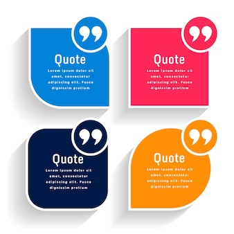 Quotes text bubbles in various geometric shapes