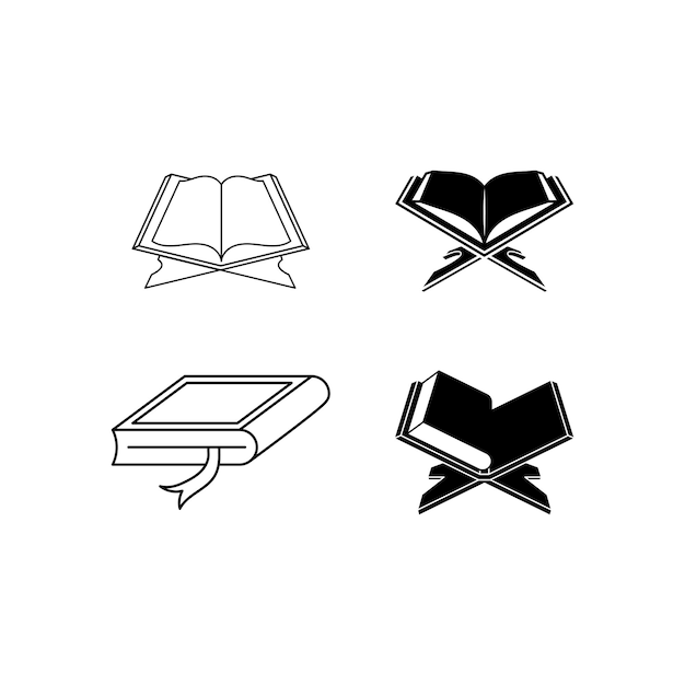 Quran holy book icon set design template