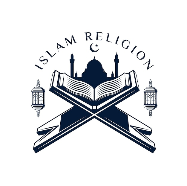 Quran or koran icon with holy book of muslim religion prayers