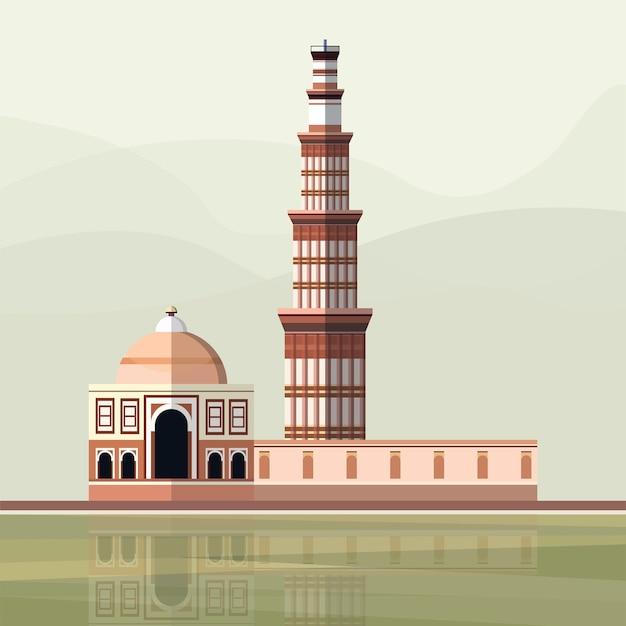 Qutub minarのイラスト