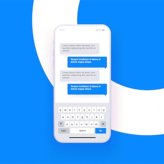 Реалистичный смартфон с открытой клавиатурой qwerty и симуляцией чата. концепция обмена сообщениями. ,