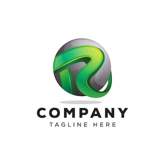 Буква r 3d дизайн логотипа