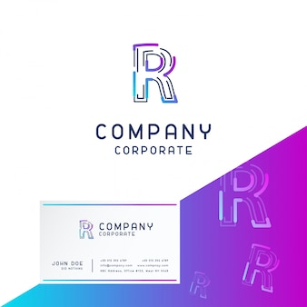R company logo design with visiting card vector