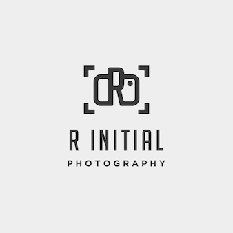R initial photography logo template vector design icon element