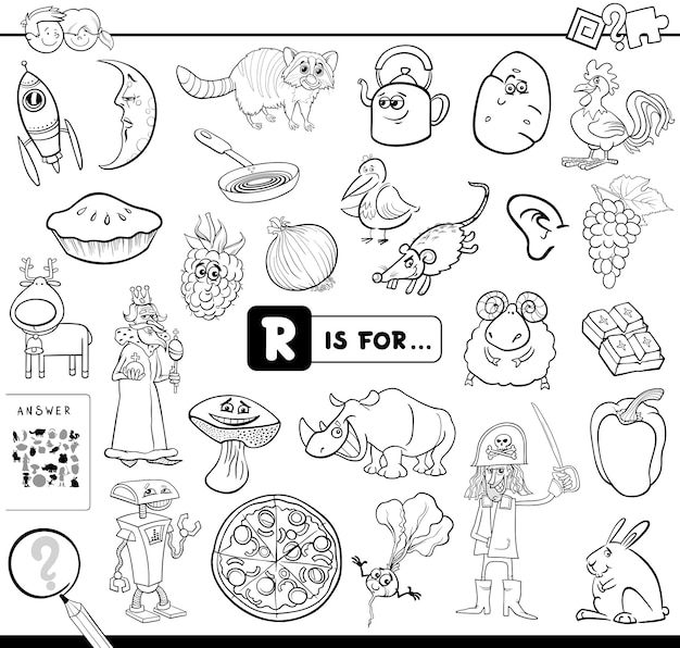 R is for educational game coloring book