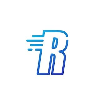 R letter dash fast quick digital mark line outline logo vector icon illustration