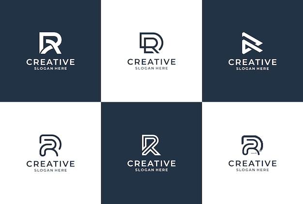 R 문자 로고 컬렉션 모노그램 스타일. 로고 영감 번들.