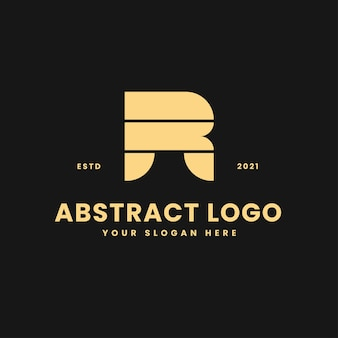 R letter luxurious gold geometric block concept logo vector icon illustration